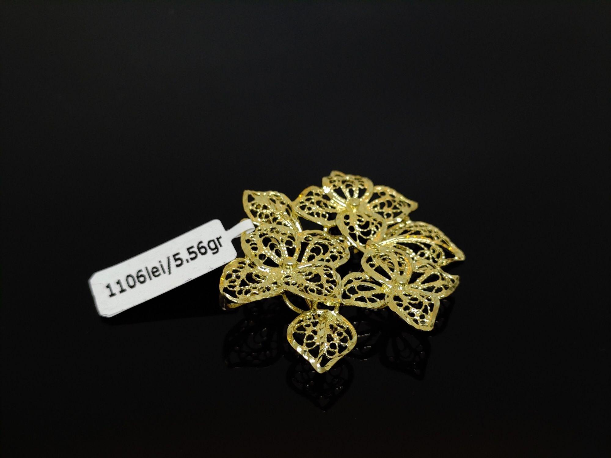 Bijuteria ROYAL : Brosa Aur 14 K / Model DEOSEBIT / Ca NOUA/5,56 GR