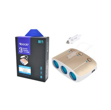 Разклонител за запалка 3 порта за автомобили и камиони 2х USB Зарядно