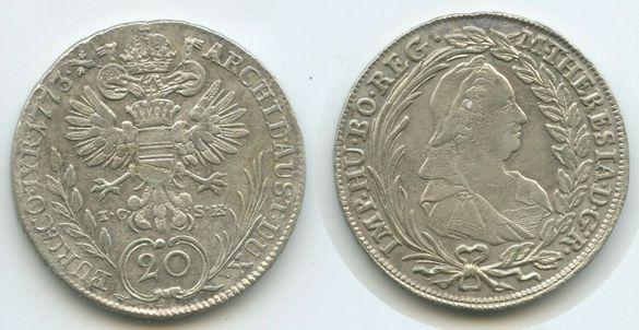 Монета Австрия 20 Кройцера 1773 Мария Тереза 1740-1780