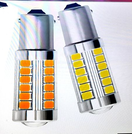 LED крушки, 12V 1156/P21W- цвят бял и жълт