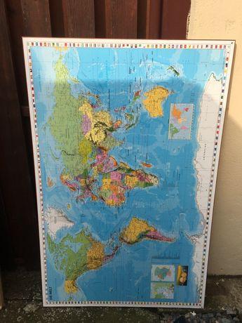 Tablou mare Harta lumii in Lb Germana
