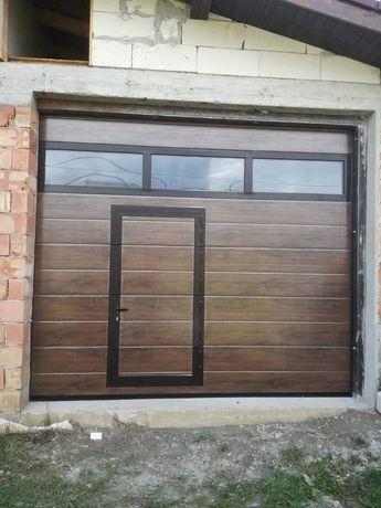 Ușă garaj l3000x3000 nuc.rand vitrat .Ușă pietonala
