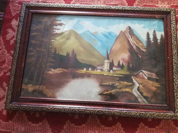 Tablou vechi pictura pe pânză, peisaj deosebit