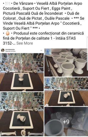 """Veselă Horeca Porțelan Arpo """" Cocotieră Suport Ouă Fierte """" Încondeiat"""