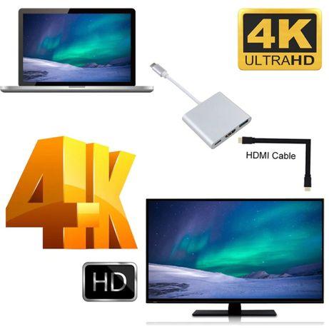 Алуминиев Type-C(USB-C) хъб към HDMI/USB 3.0/Type-C конвертор + Гаранц