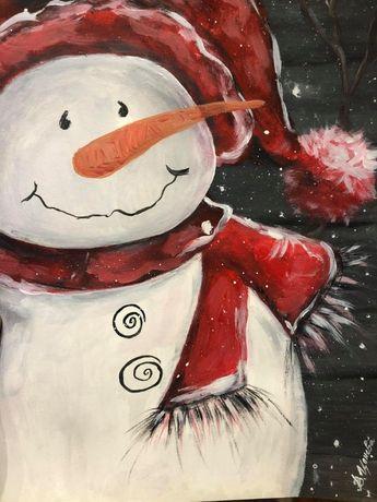 Коледна картина- снежен човек