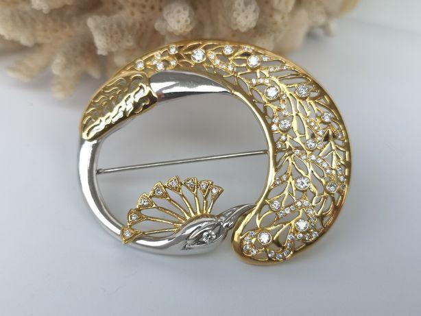 Broșă art deco păun din aur de 18k cu diamante