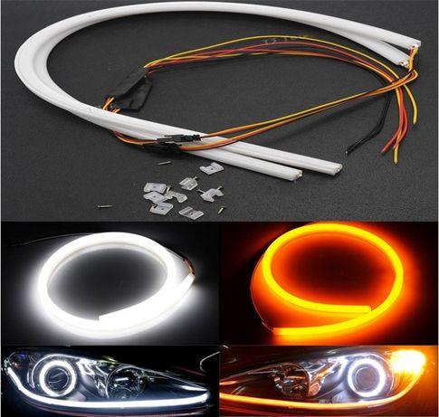 Силиконови Лед LED ленти DRL за фарове с функция мигач 2бр. х 60см.