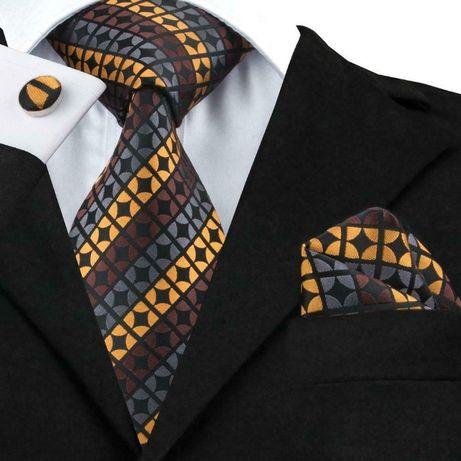 Set cravata matase butoni+batista model carouri/cercuri + cutie cadou
