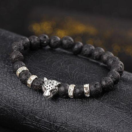 Мъжка гривна с лава камъни