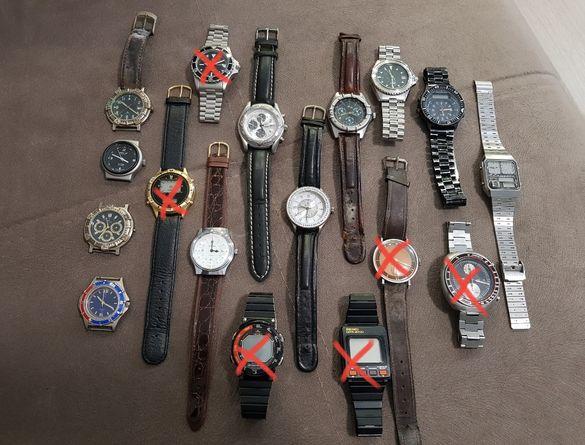 Лот мъжки маркови винтидж часовници - Seiko Zodiac Axa Citizen и други