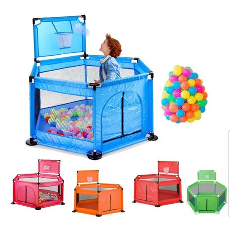 Tarc bebe cu cos baschet 50 bile colorate diverse culori