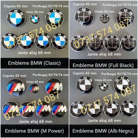Set embleme sigle BMW pt capota portbagaj volan si jante