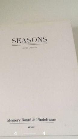 Rama foto Seasons, alba, cu tablita de memorie pentru post-it