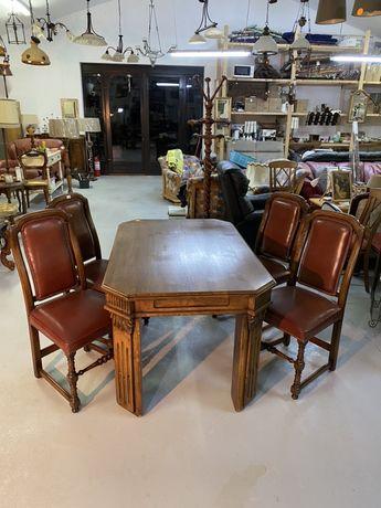 Set de 4 scaune/ Lemn piele