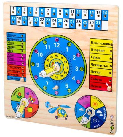дървен пъзел с месеци, дни, календар, часовник, сезони и време