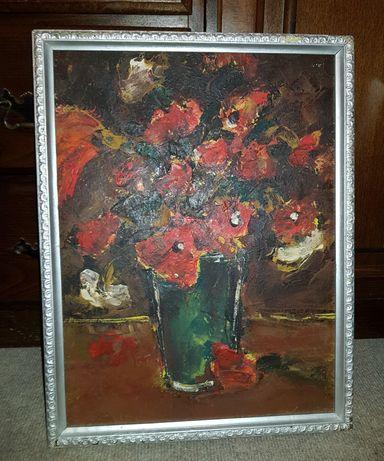 Vază cu flori roșii (ramă argintie)