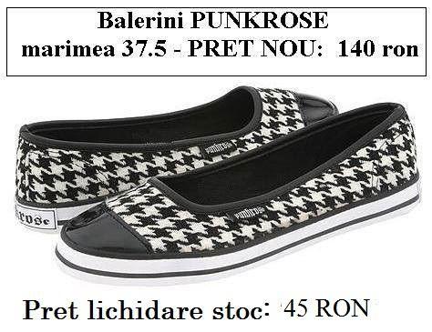 Balerini stofa tweed 37.5 PUNKROSE - alb negru picior de cocos 45 RON