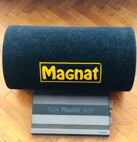 Pachet bass auto Magnat tub + amplificator / schimb cu subwoofer activ