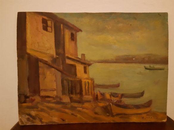 Стара маслена картина 'Рибарско селище' на художника Николай Илиев .