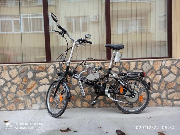 Велосипед колело сгъваемо с бензинов двигател 80куб/см