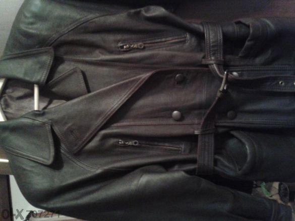 Кафяво дамско яке от естествена кожа