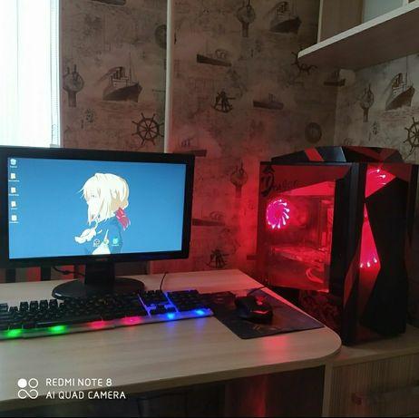 Компьютер пк системный блок + монитор, клавиатура, мышка