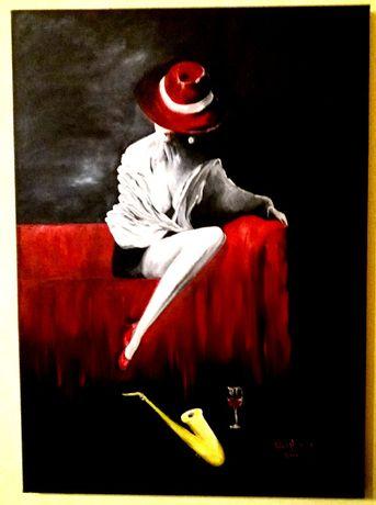 "Doua tablouri ""Femeia misterioasa"", pictura in ulei pe panza"