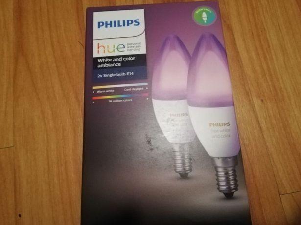 Pachet 2 Becuri Inteligente Led Philips Hue RGBW E14 Bluetooth + Wir