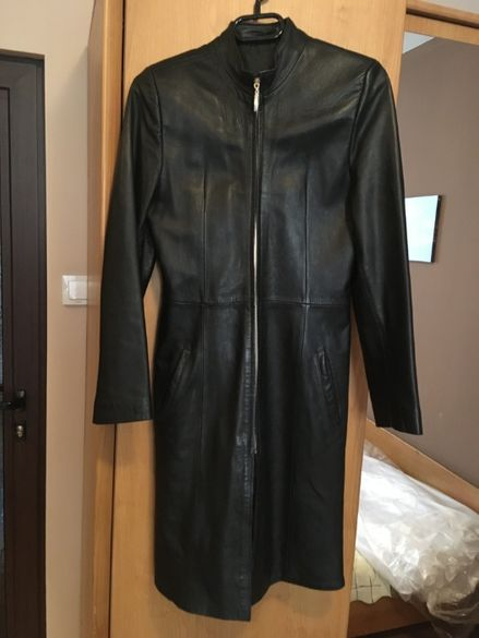 Дълго дамско яке естествена кожа
