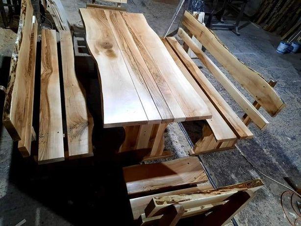 Set masă lemn masiv NUC RUSTICĂ