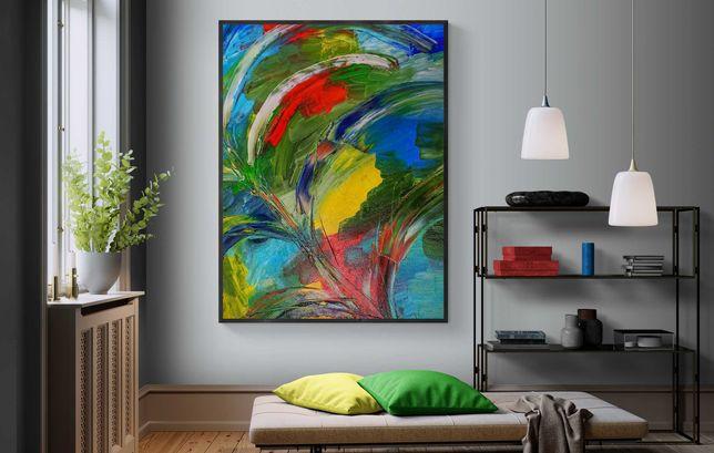 Картина маслом холст 135х100 см абстрактная современная интерьерная
