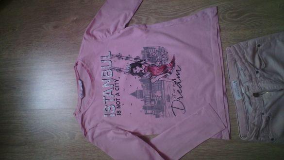 Дънки H&M с блуза Waikiki в розово
