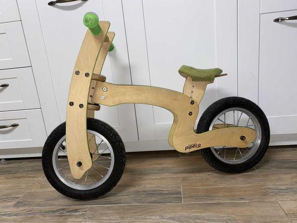 """Pipello / Пипело Z,  12"""" Българско дървено детско колело без педали"""
