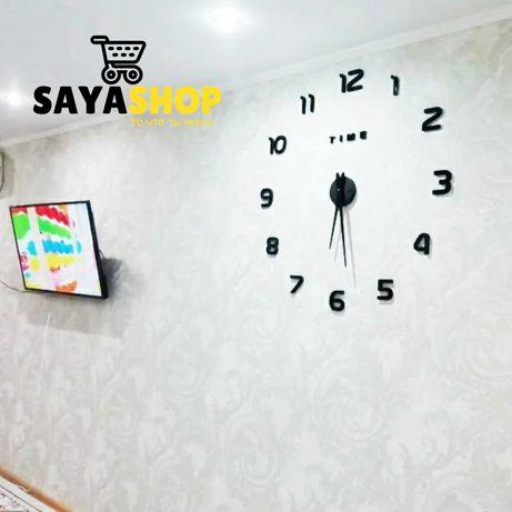 Современные большие настенные 3Д часы!Подарки в Алматы!Отправка есть!