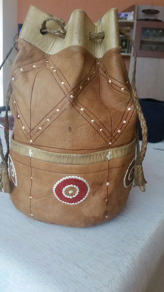 Кожена чанта / торба народна автентична