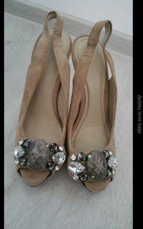 Sandale 38 (pantofi)Zara din piele 140 lei neg(nu musette,aldo)