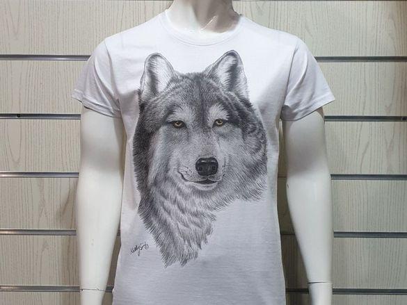 Страхотна нова мъжка тениска с щампа бял вълк, серия вълци