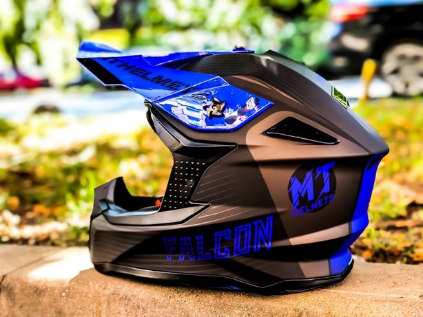 Casca Moto Cross/MX/Enduro MT Falcon Negru Matt Albastru Lucios