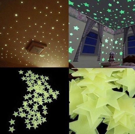 Светещи фосфорни звезди 100 бр. Стайна декорация светещи звездички