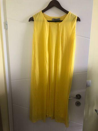 Жълта рокля разкроена отпред марка SportMax Italy