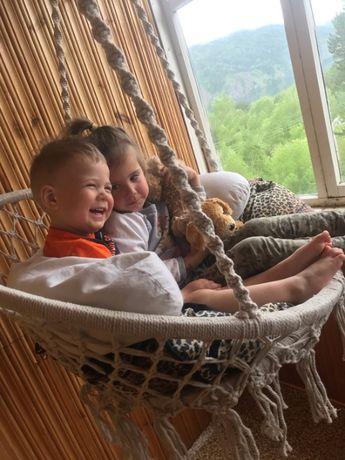 Качели детские подвесные плетеные, хлопок 100%