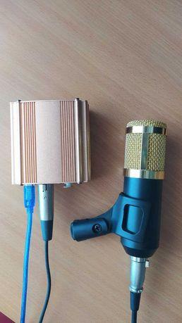 Микрофон BM-800 + звук. карта, фантомное питание 48v.
