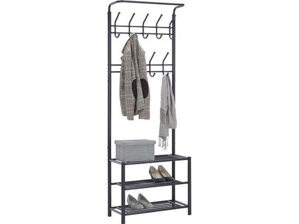 Черна метална закачалка-185х32х67 см./метална закачалка с три рафта