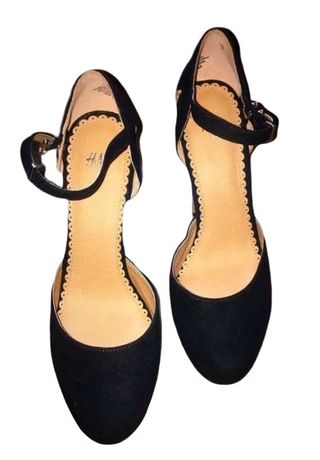 Pantofi Sandale H&M cu toc platforme negri dama stil Bershka platforma