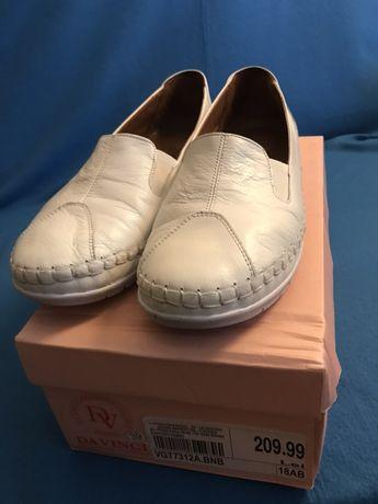 Pantofi albi piele 39 DA VINCI