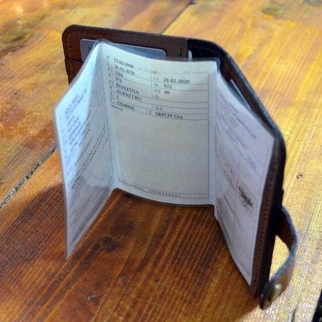 Portdocument auto/portofel piele naturala maro coniac, talon romanesc
