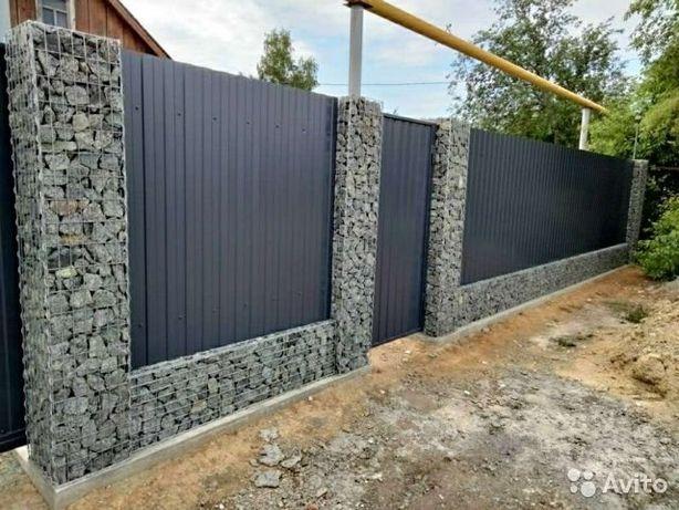 Заборы и подпорные стены из габионов