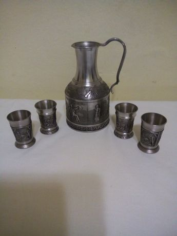 Carafa+4 pahare zinc