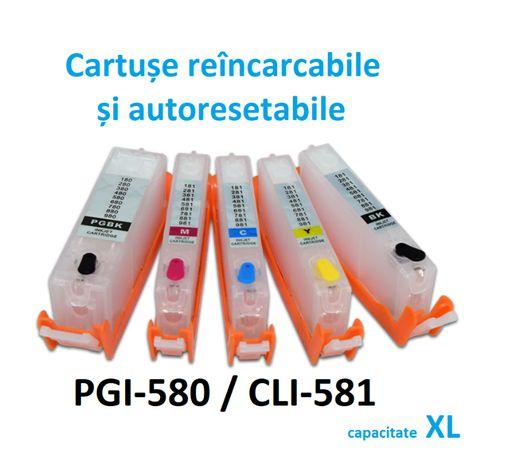 [NOU] CISS/ 5 Cartuse reincarcabile PGI-580 XL , CLI-581 XL autoRESET